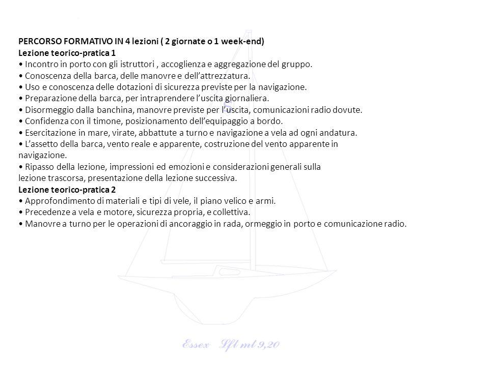 PERCORSO FORMATIVO IN 4 lezioni ( 2 giornate o 1 week-end)