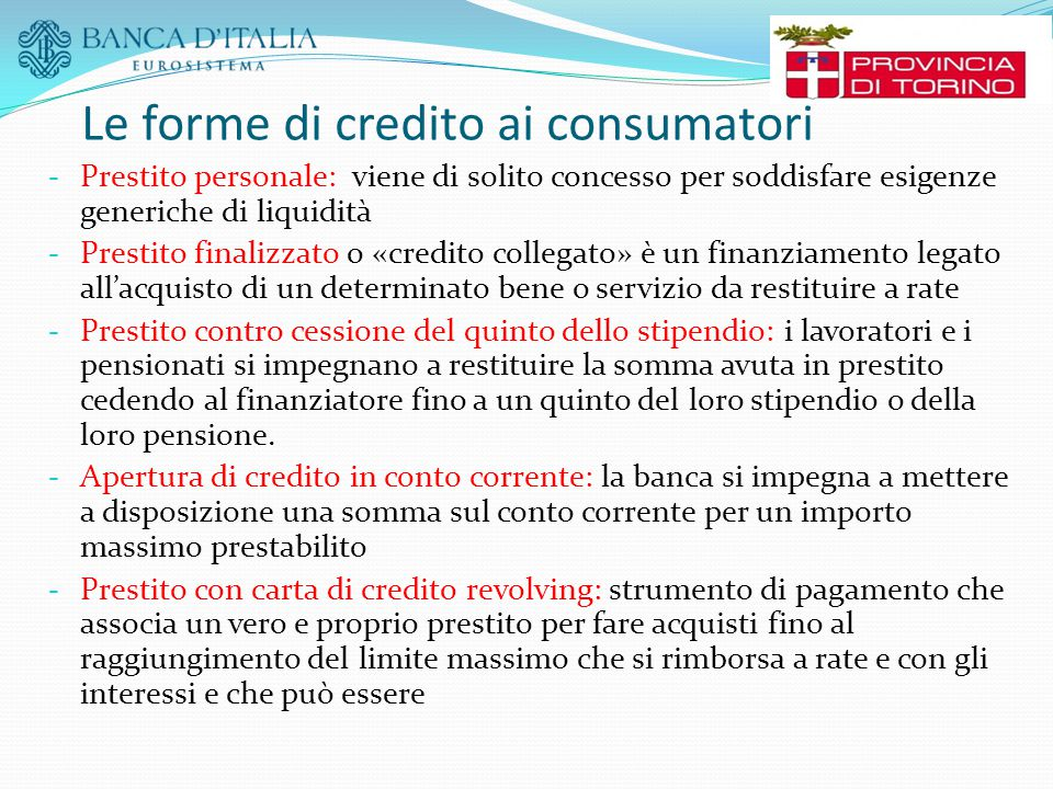 Le forme di credito ai consumatori