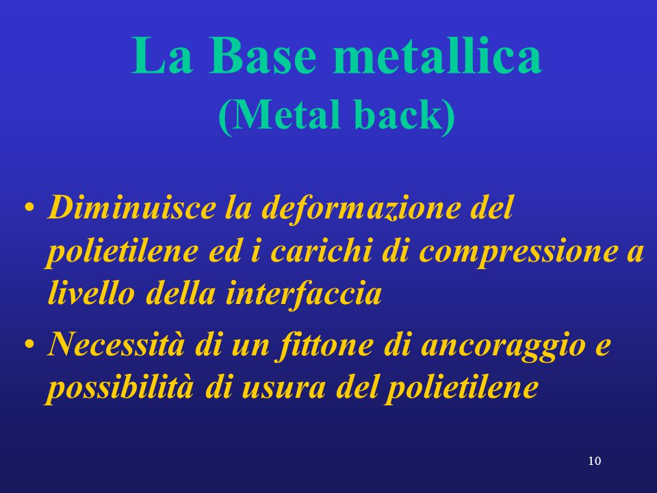 La Base metallica (Metal back)