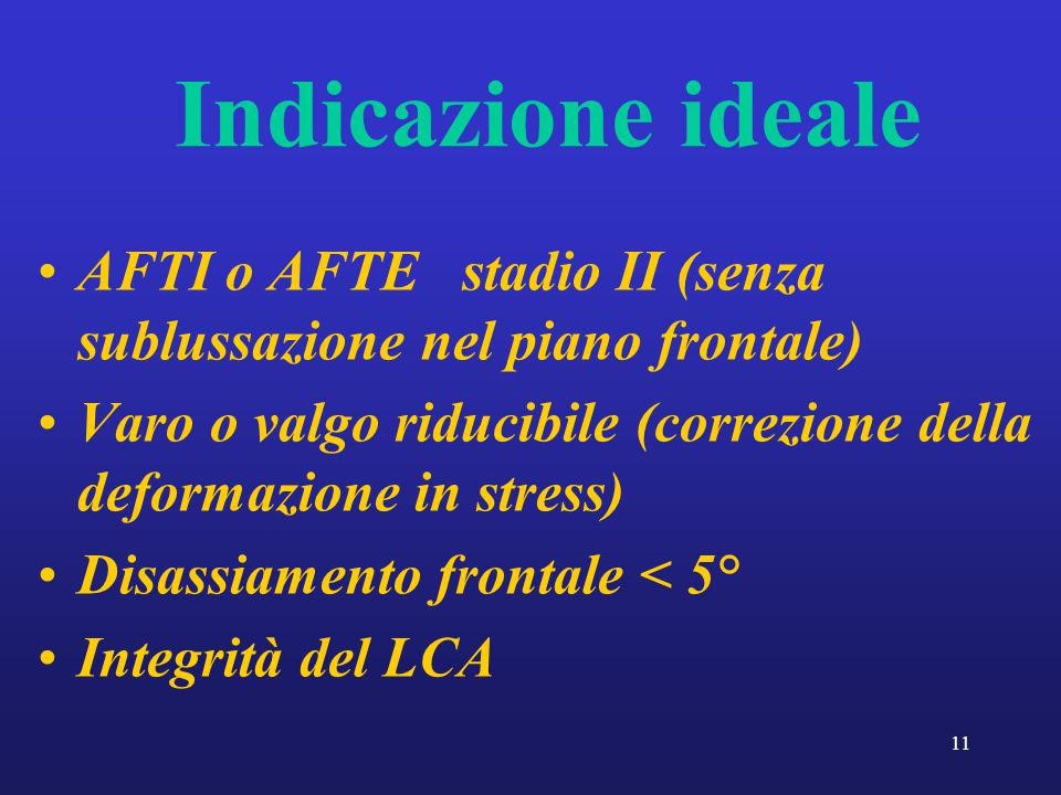 Indicazione ideale AFTI o AFTE stadio II (senza sublussazione nel piano frontale)