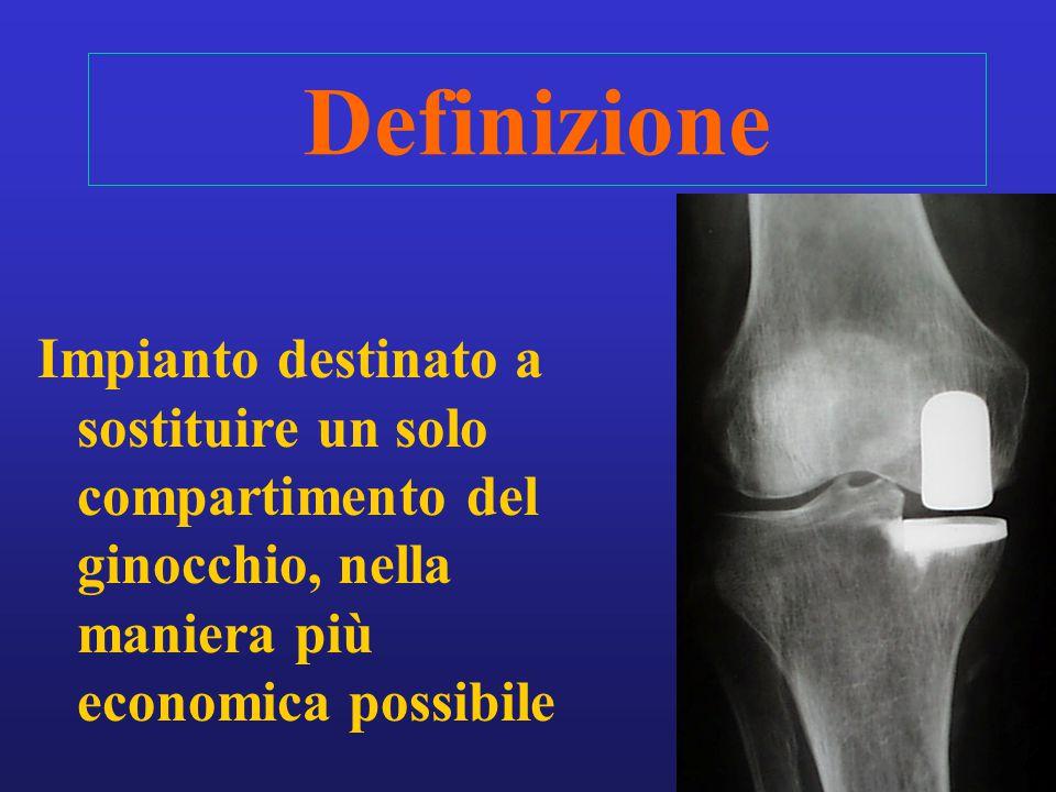 Definizione Impianto destinato a sostituire un solo compartimento del ginocchio, nella maniera più economica possibile.
