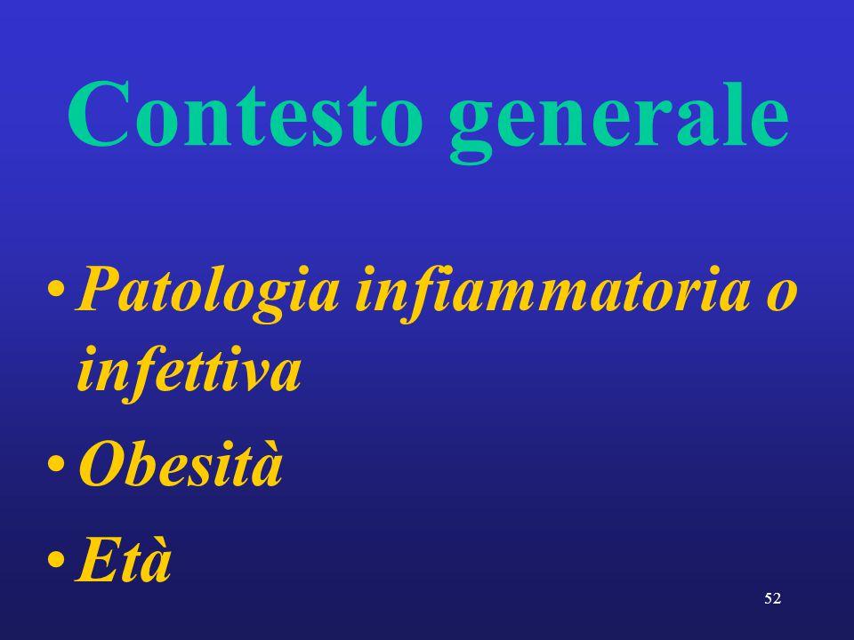 Contesto generale Patologia infiammatoria o infettiva Obesità Età