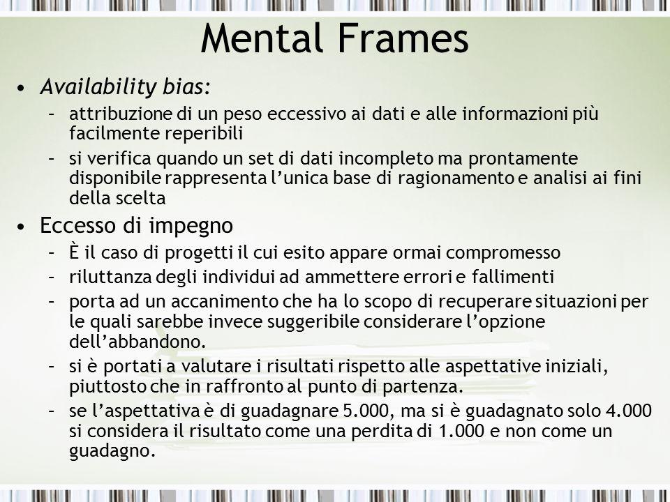 Mental Frames Availability bias: Eccesso di impegno