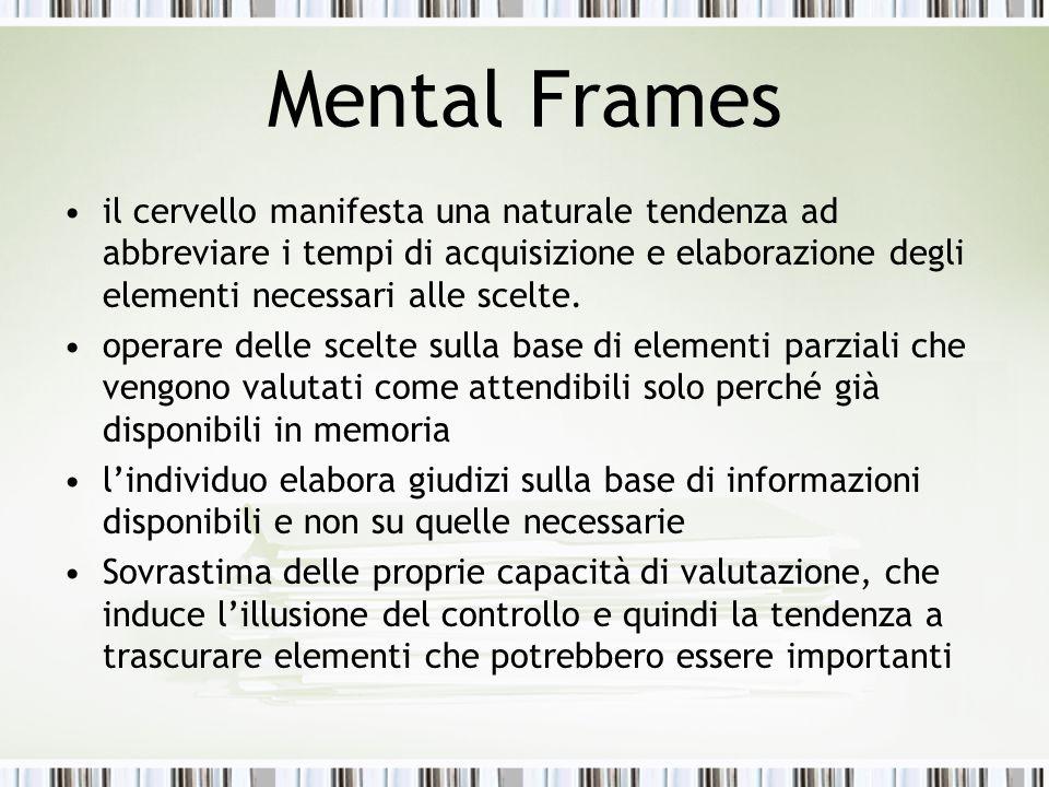 Mental Frames il cervello manifesta una naturale tendenza ad abbreviare i tempi di acquisizione e elaborazione degli elementi necessari alle scelte.