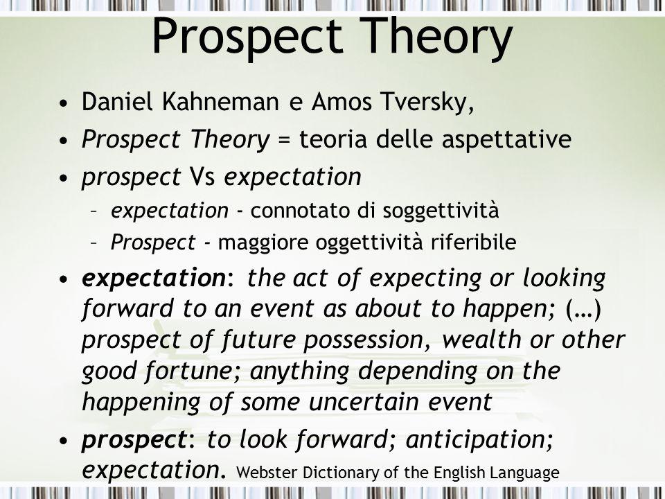 Prospect Theory Daniel Kahneman e Amos Tversky,