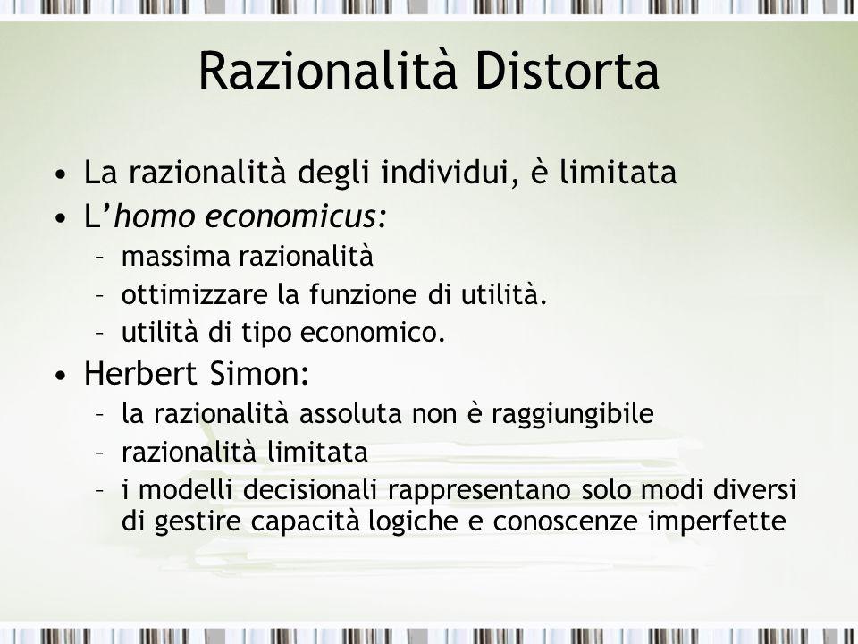 Razionalità Distorta La razionalità degli individui, è limitata