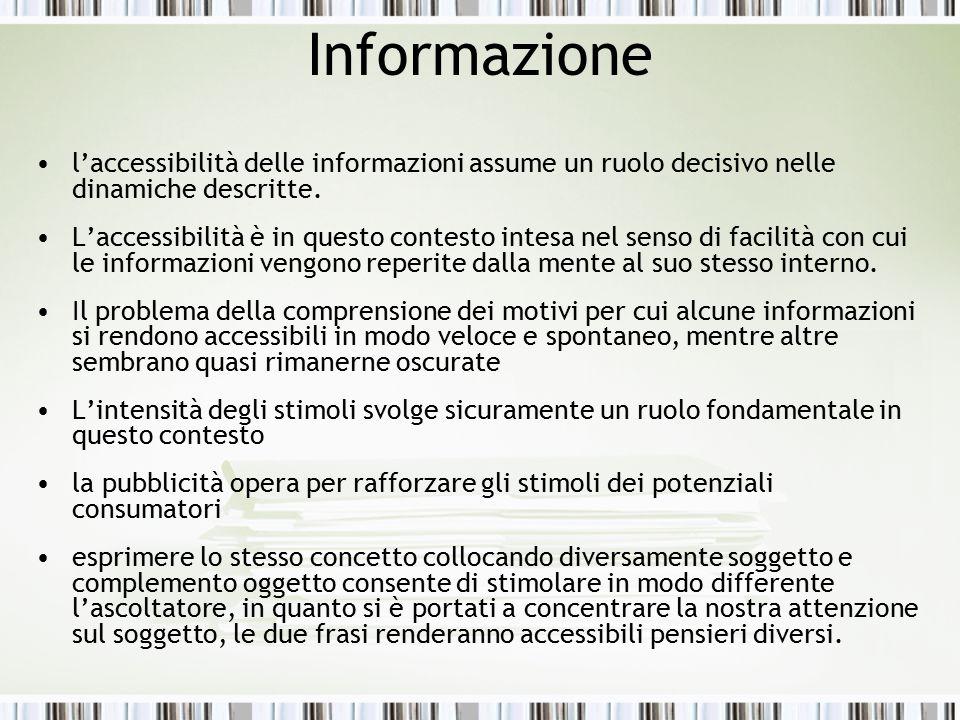 Informazione l'accessibilità delle informazioni assume un ruolo decisivo nelle dinamiche descritte.