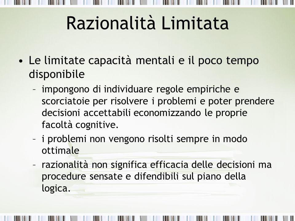 Razionalità Limitata Le limitate capacità mentali e il poco tempo disponibile.