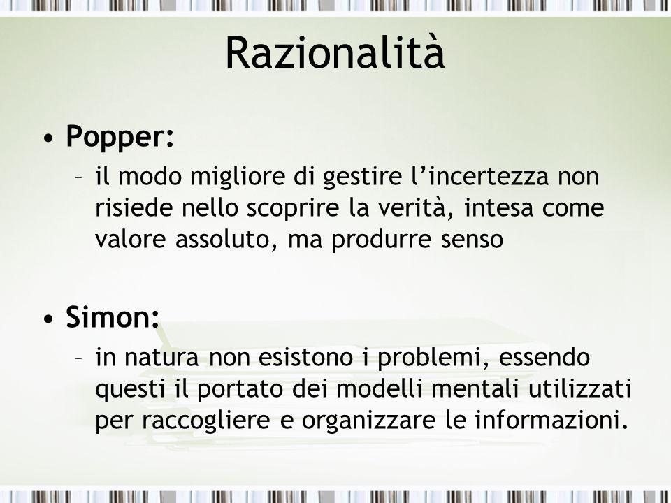 Razionalità Popper: Simon: