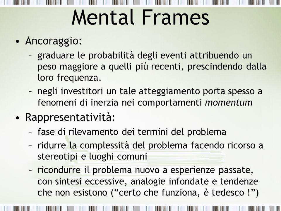 Mental Frames Ancoraggio: Rappresentatività:
