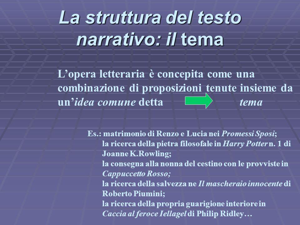 La struttura del testo narrativo: il tema