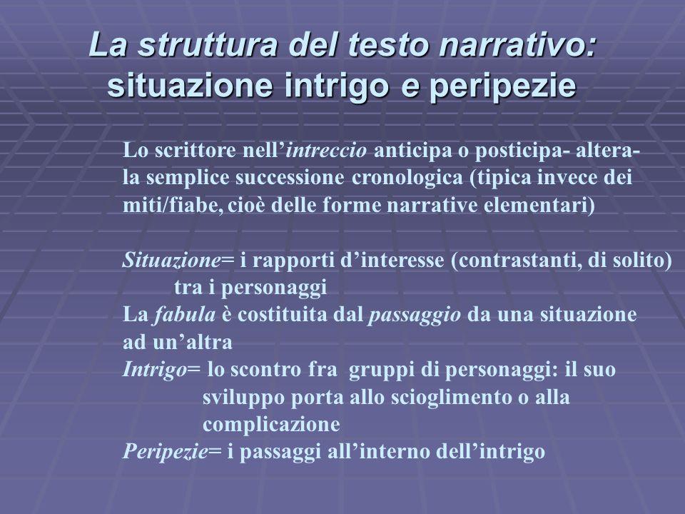 La struttura del testo narrativo: situazione intrigo e peripezie