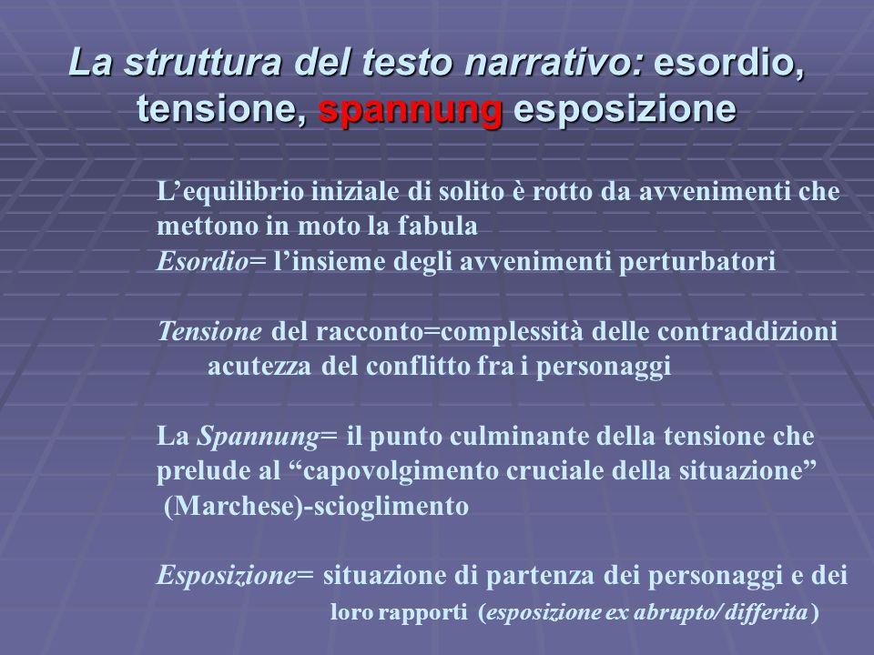 La struttura del testo narrativo: esordio, tensione, spannung esposizione