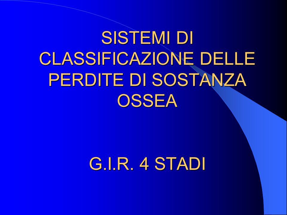SISTEMI DI CLASSIFICAZIONE DELLE PERDITE DI SOSTANZA OSSEA G. I. R
