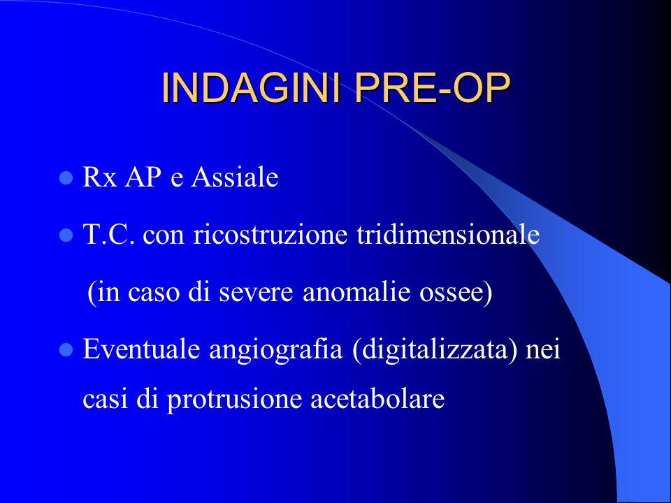 INDAGINI PRE-OP Rx AP e Assiale T.C. con ricostruzione tridimensionale