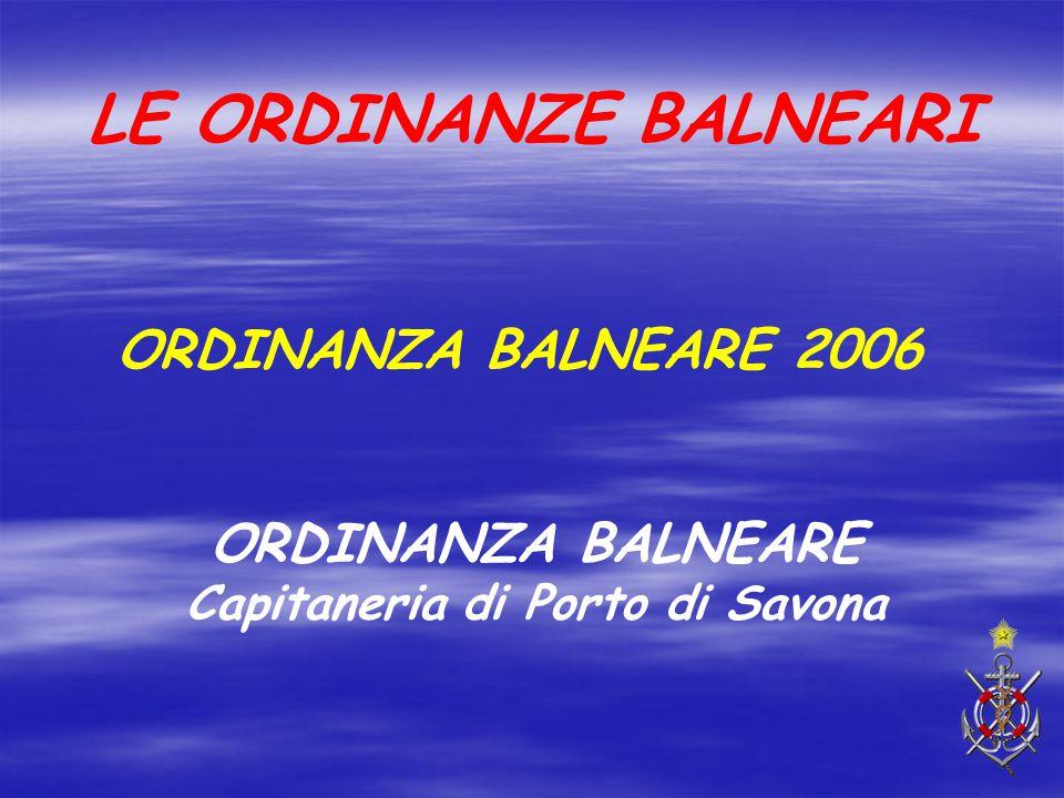 ORDINANZA BALNEARE Capitaneria di Porto di Savona