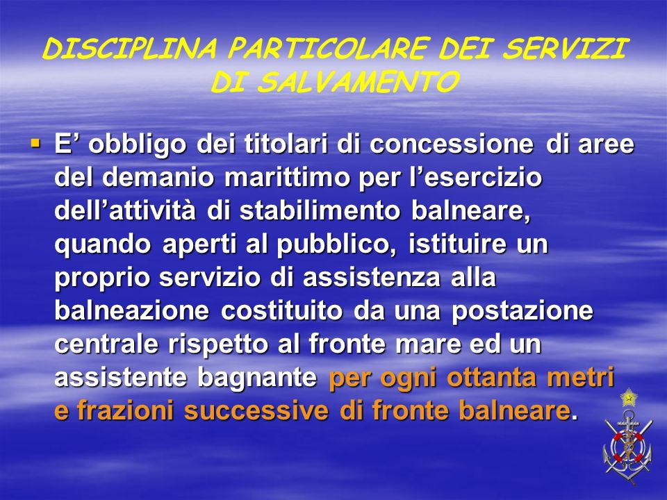 DISCIPLINA PARTICOLARE DEI SERVIZI DI SALVAMENTO