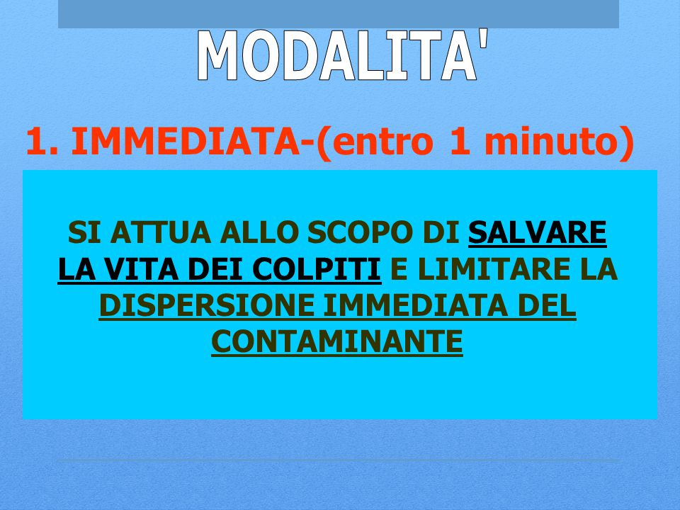 MODALITA 1. IMMEDIATA-(entro 1 minuto)
