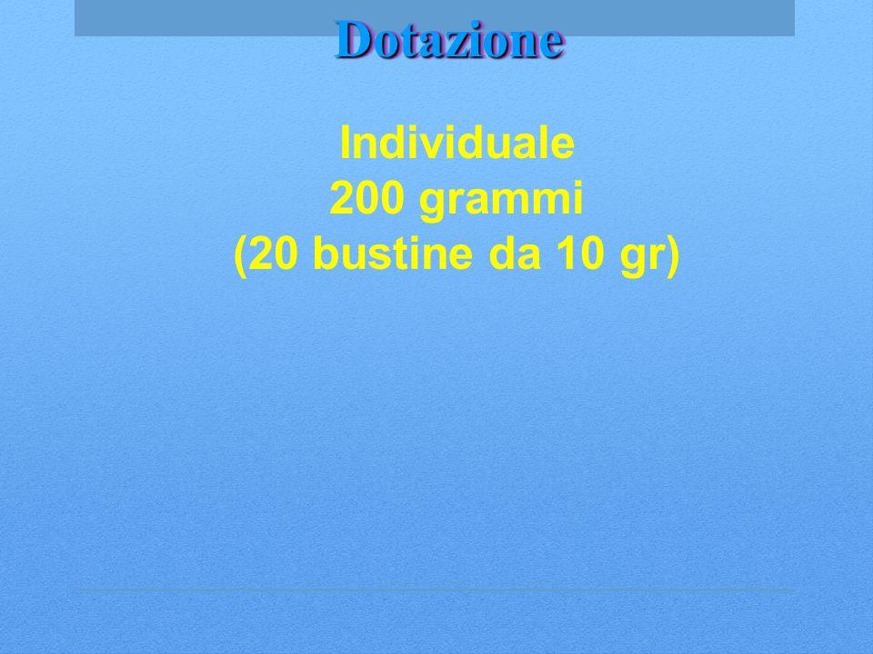 Dotazione Individuale 200 grammi (20 bustine da 10 gr) Dotazione: