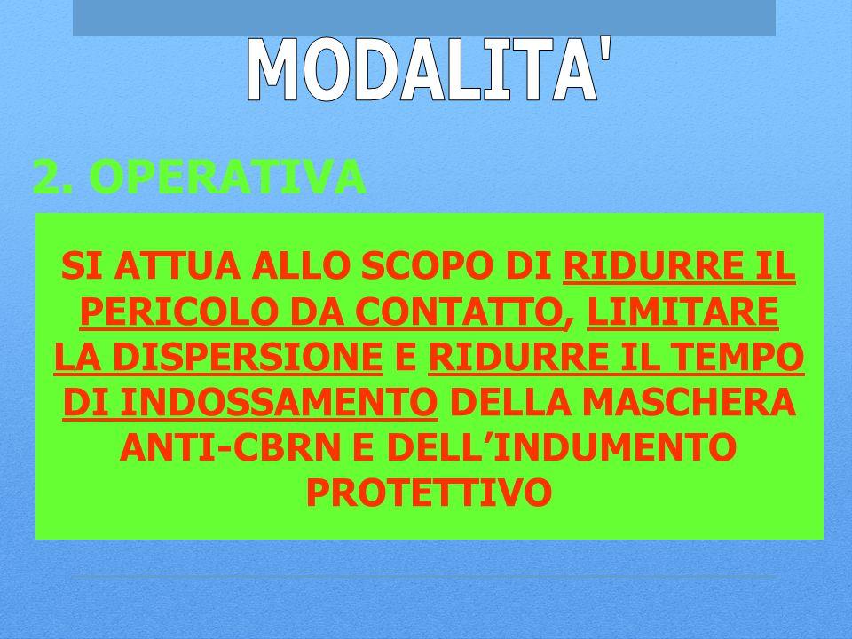 MODALITA 2. OPERATIVA SI ATTUA ALLO SCOPO DI RIDURRE IL