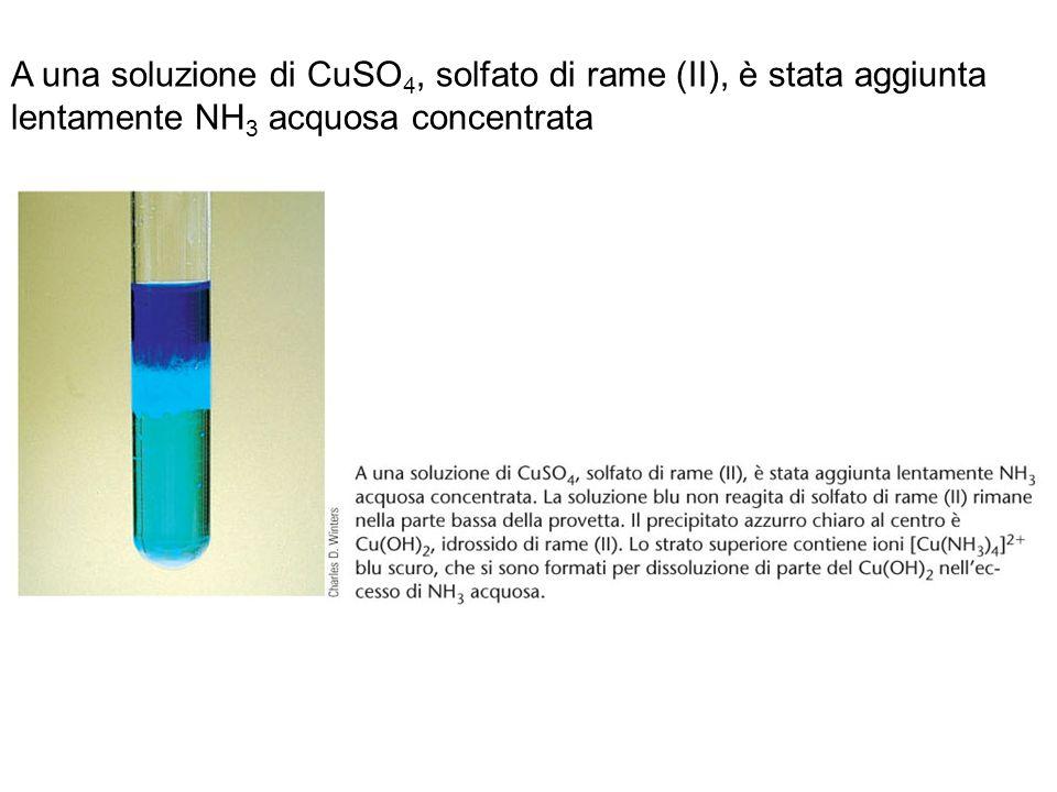 A una soluzione di CuSO4, solfato di rame (II), è stata aggiunta lentamente NH3 acquosa concentrata.