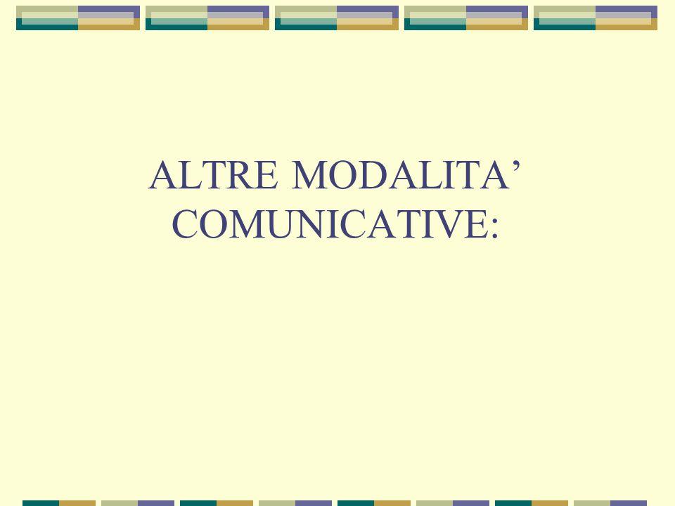 ALTRE MODALITA' COMUNICATIVE: