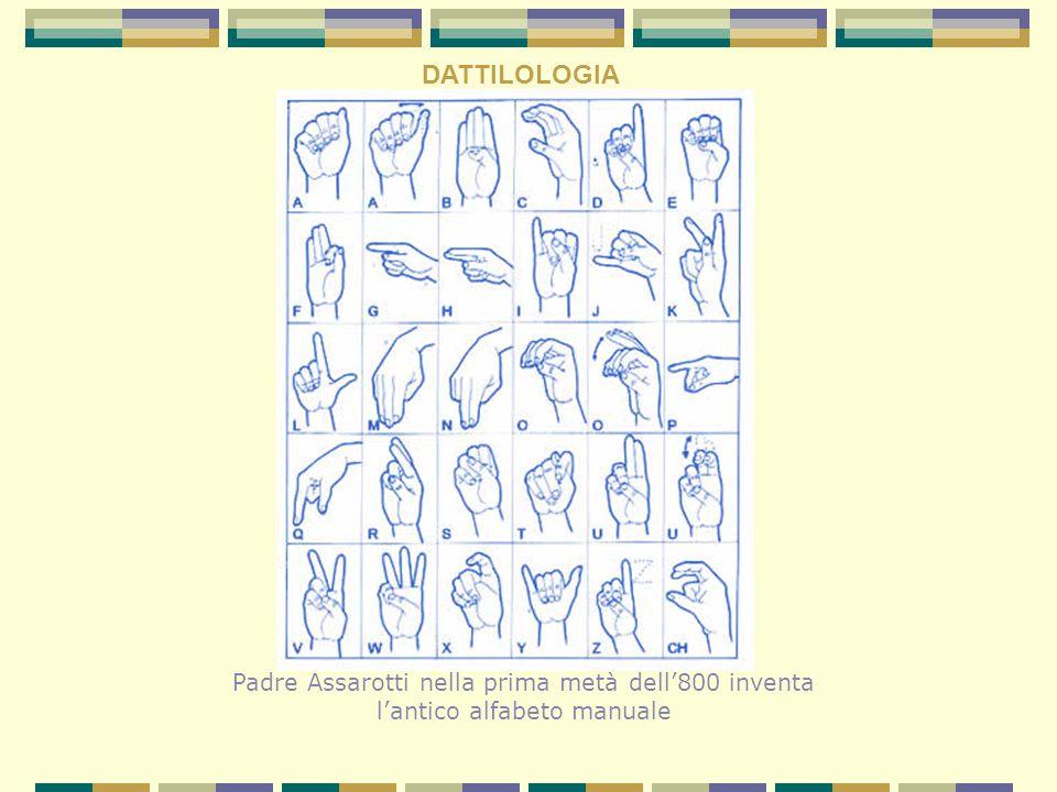 DATTILOLOGIA Padre Assarotti nella prima metà dell'800 inventa l'antico alfabeto manuale