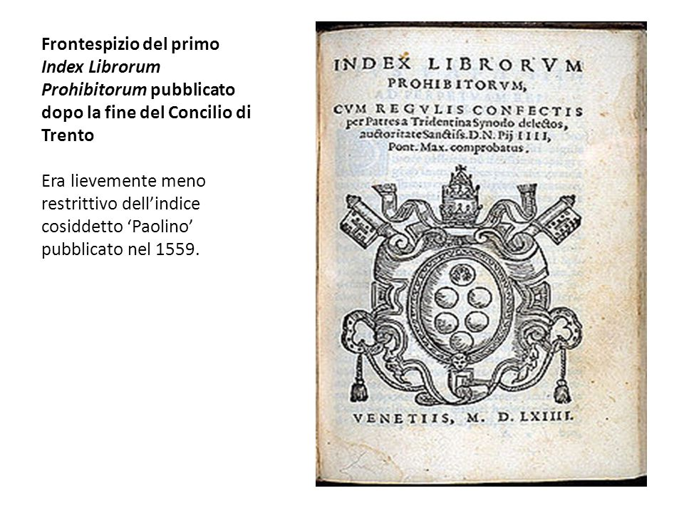 Frontespizio del primo Index Librorum Prohibitorum pubblicato dopo la fine del Concilio di Trento