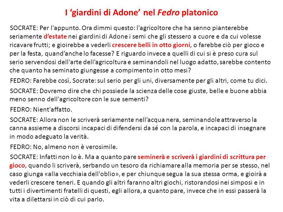 I 'giardini di Adone' nel Fedro platonico