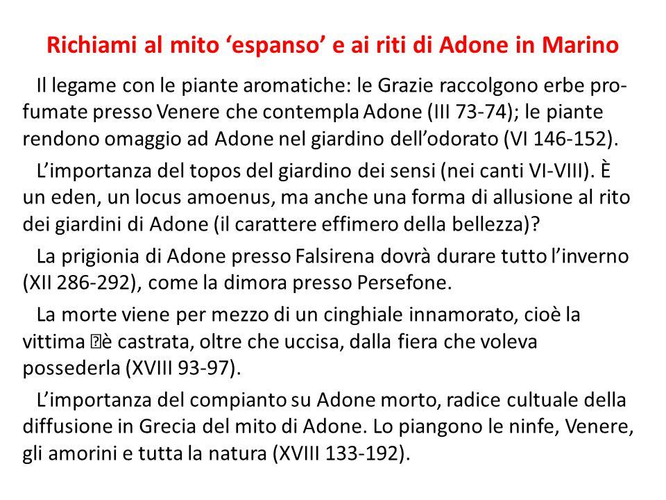Richiami al mito 'espanso' e ai riti di Adone in Marino