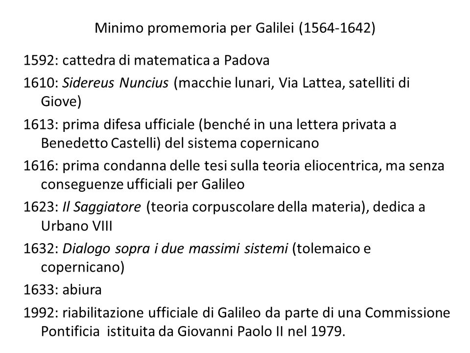 Minimo promemoria per Galilei (1564-1642)