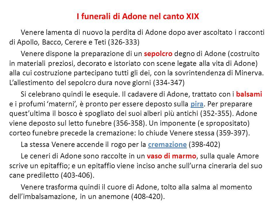 I funerali di Adone nel canto XIX
