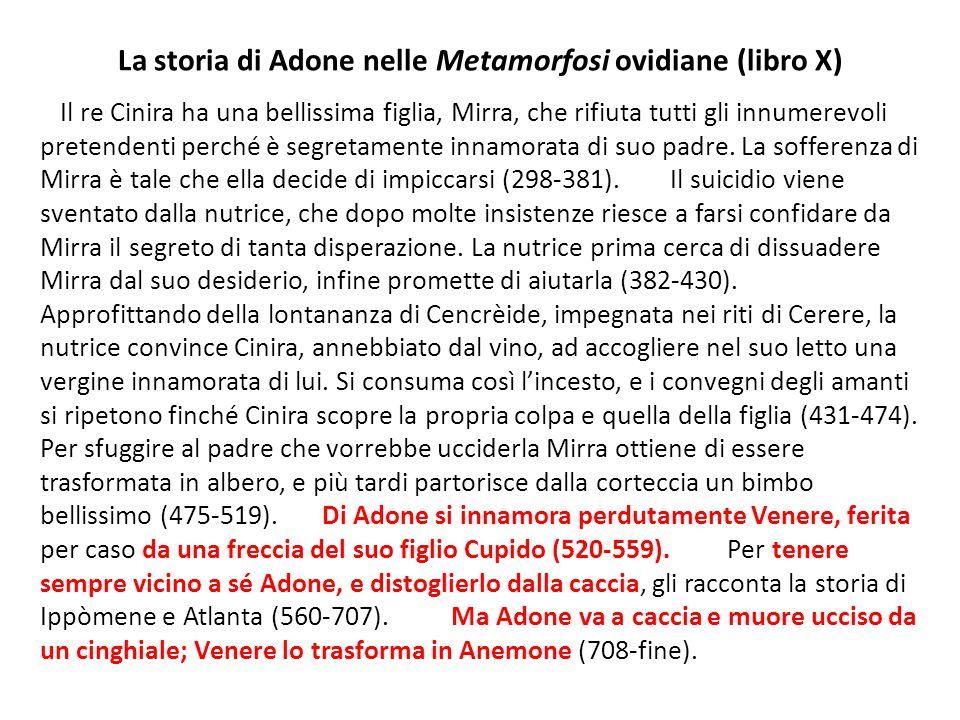 La storia di Adone nelle Metamorfosi ovidiane (libro X)