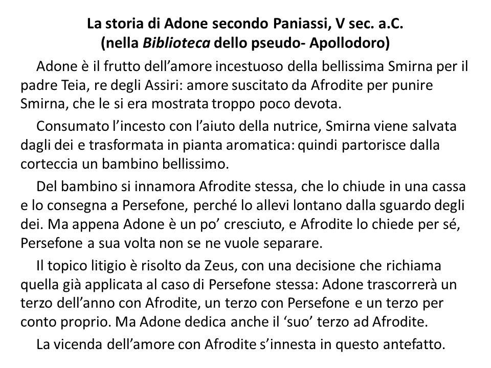 La storia di Adone secondo Paniassi, V sec. a. C