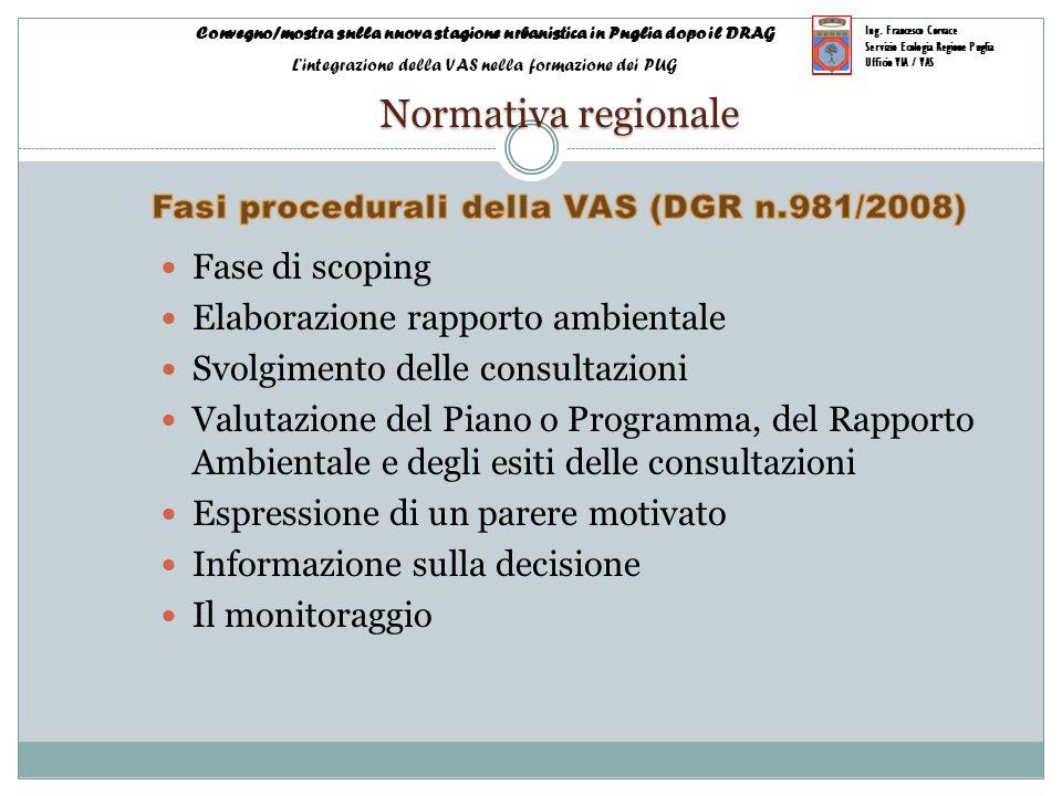Fasi procedurali della VAS (DGR n.981/2008)
