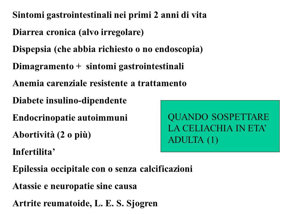 Sintomi gastrointestinali nei primi 2 anni di vita