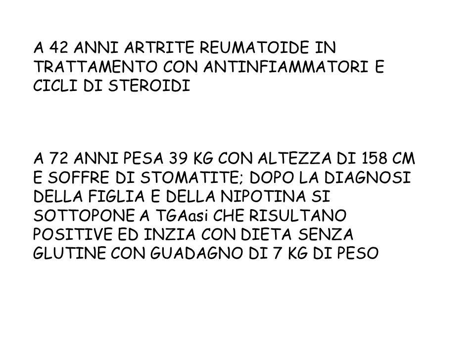 A 42 ANNI ARTRITE REUMATOIDE IN TRATTAMENTO CON ANTINFIAMMATORI E CICLI DI STEROIDI