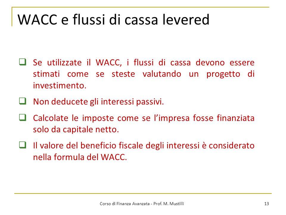 WACC e flussi di cassa levered