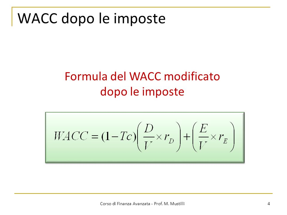 WACC dopo le imposte Formula del WACC modificato dopo le imposte