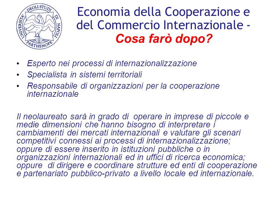 Economia della Cooperazione e del Commercio Internazionale - Cosa farò dopo