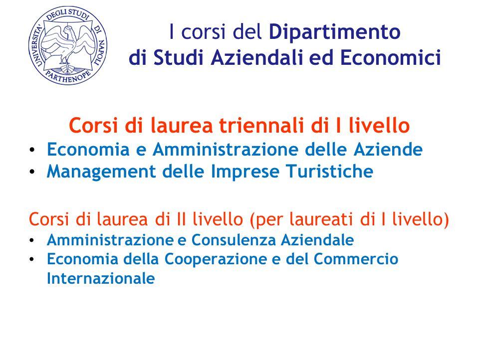 I corsi del Dipartimento di Studi Aziendali ed Economici