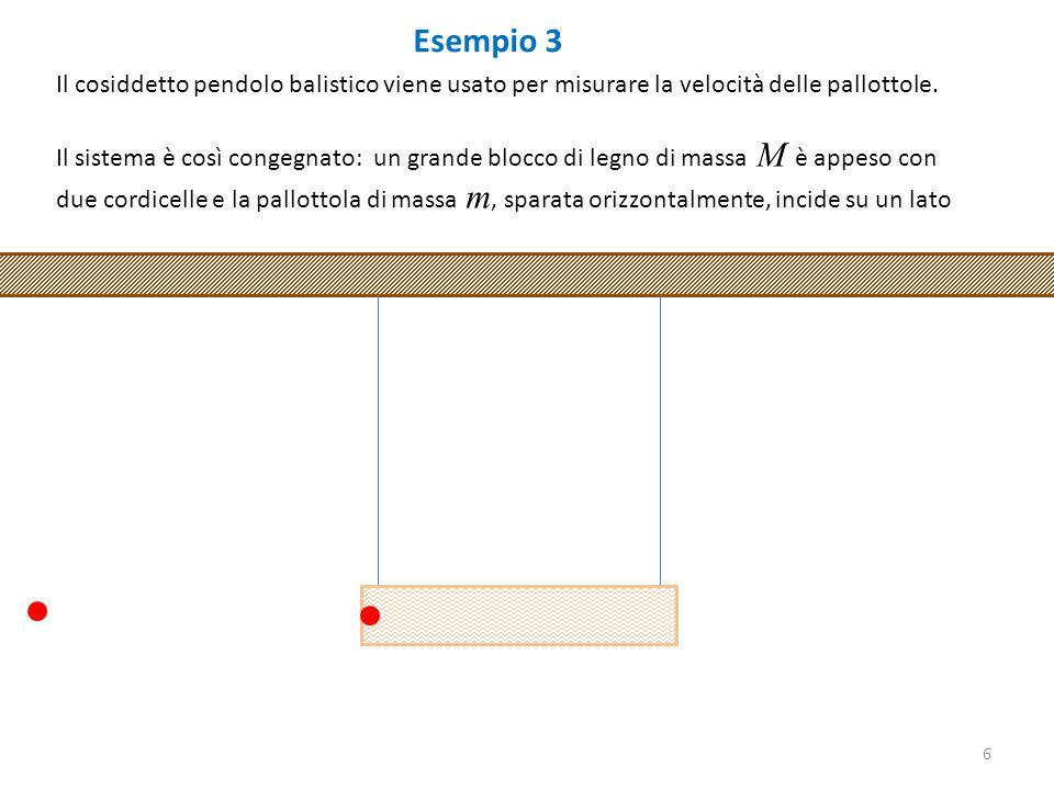 Esempio 3 Il cosiddetto pendolo balistico viene usato per misurare la velocità delle pallottole.