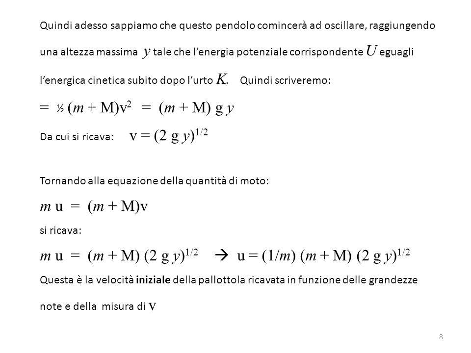 m u = (m + M) (2 g y)1/2  u = (1/m) (m + M) (2 g y)1/2