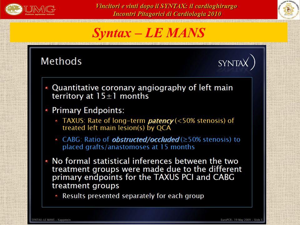 Syntax – LE MANS Vincitori e vinti dopo il SYNTAX: il cardioghirurgo