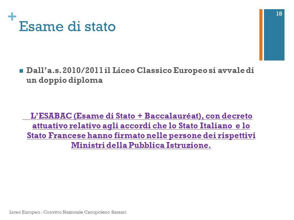 Esame di stato Dall'a.s. 2010/2011 il Liceo Classico Europeo si avvale di un doppio diploma.