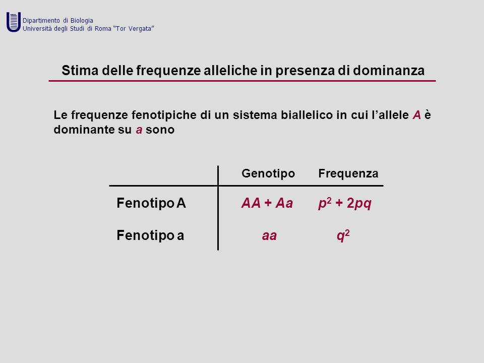U Stima delle frequenze alleliche in presenza di dominanza