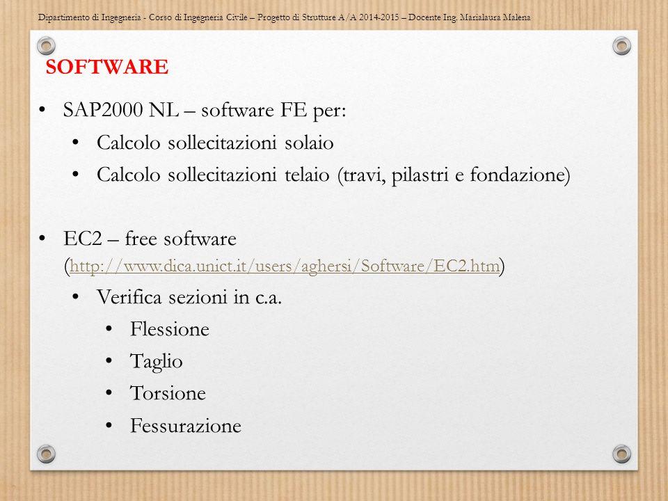 SOFTWARE SAP2000 NL – software FE per: Calcolo sollecitazioni solaio. Calcolo sollecitazioni telaio (travi, pilastri e fondazione)