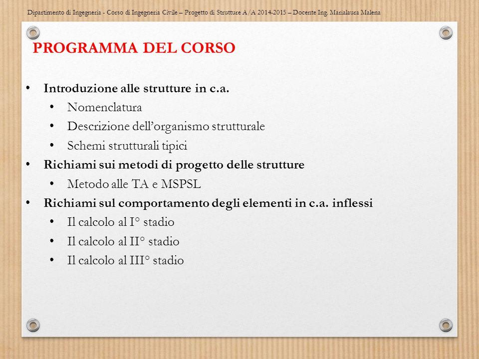 PROGRAMMA DEL CORSO Introduzione alle strutture in c.a. Nomenclatura