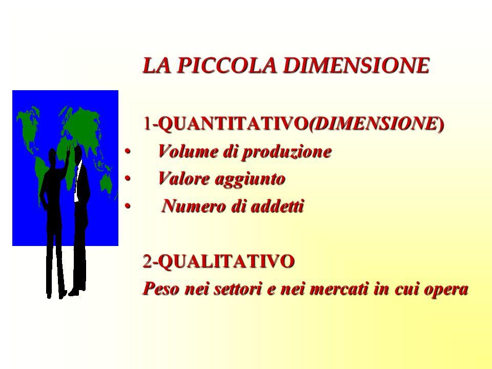 LA PICCOLA DIMENSIONE 1-QUANTITATIVO(DIMENSIONE) Volume di produzione