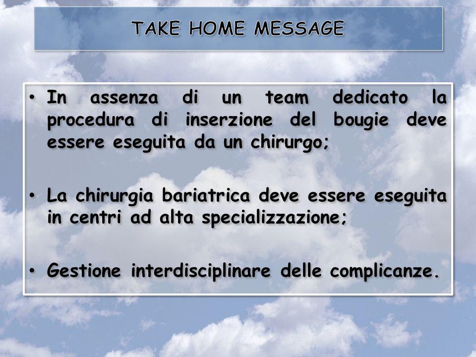 TAKE HOME MESSAGE In assenza di un team dedicato la procedura di inserzione del bougie deve essere eseguita da un chirurgo;
